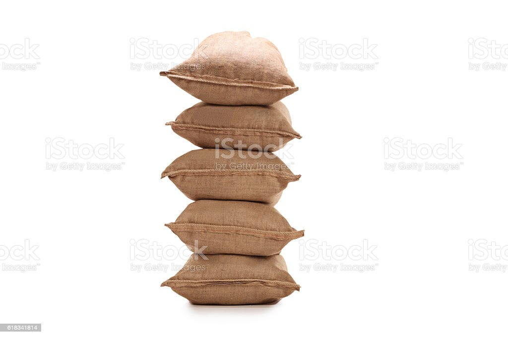 Stack of burlap sacks stock photo