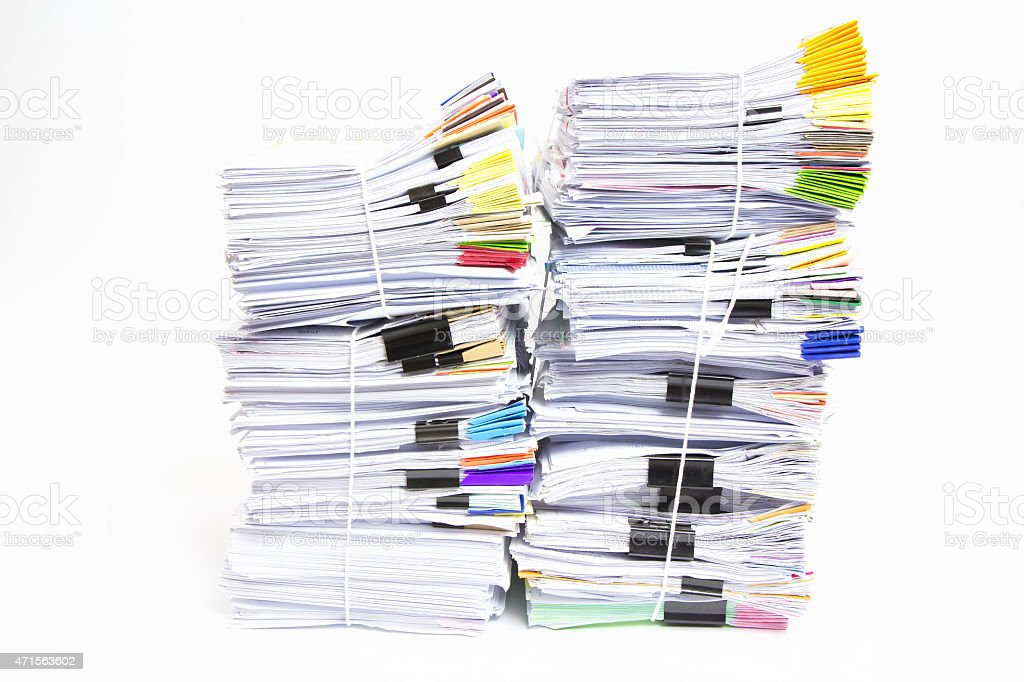 Stack of business papers isolated on white background royalty-free stock photo