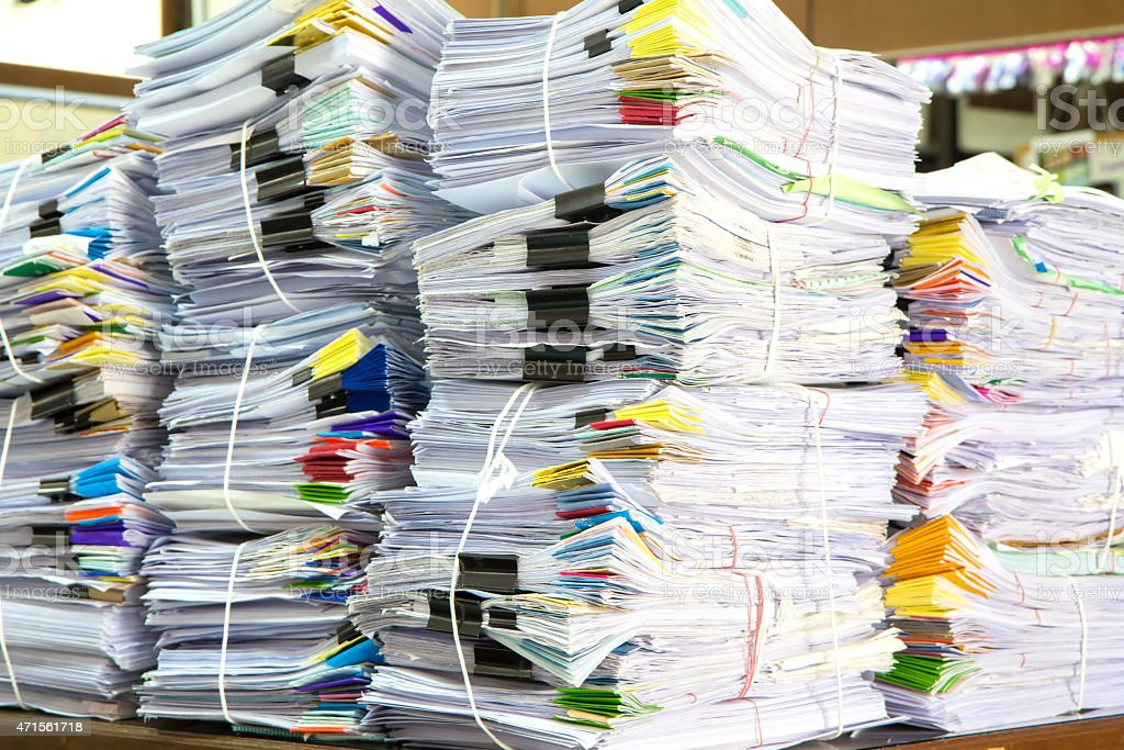 Stack of business papers stock photo