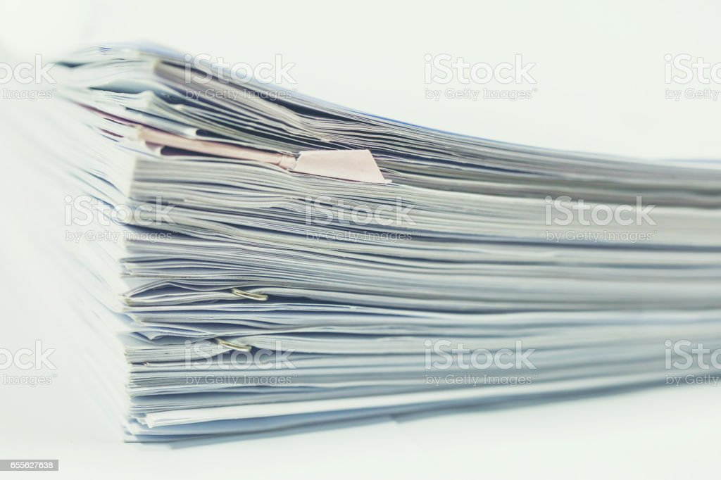 Stack of business report paper files stock photo