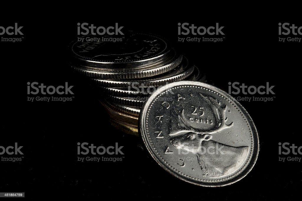 stack of Canadian coins stock photo