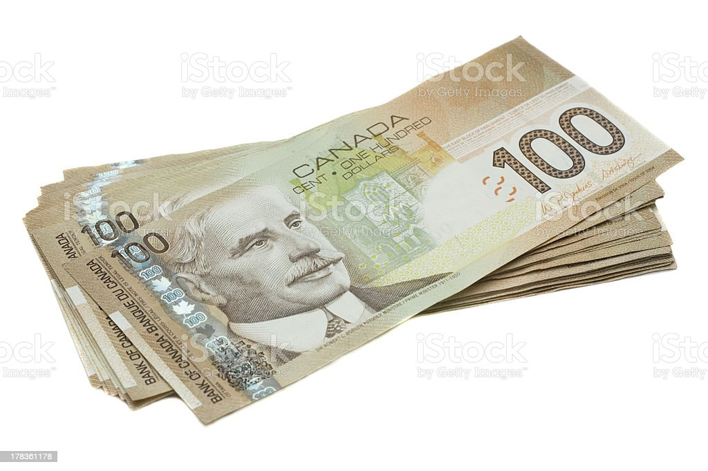 Stack of Canadian one hundred dollar bill stock photo