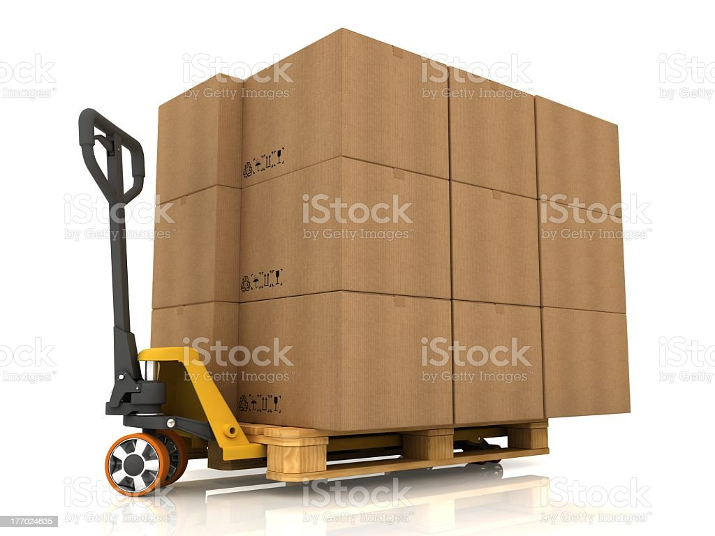 Stack of cardboard boxes on forklift royalty-free stock photo