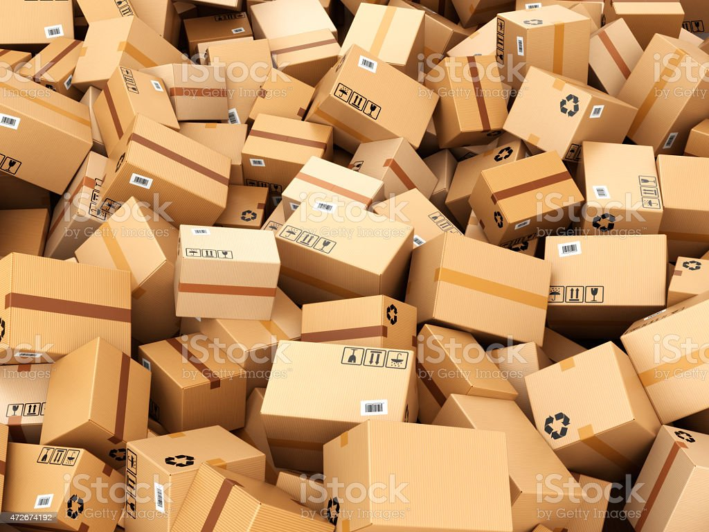 Stack of cardboard delivery boxes or parcels. Warehouse concept stock photo