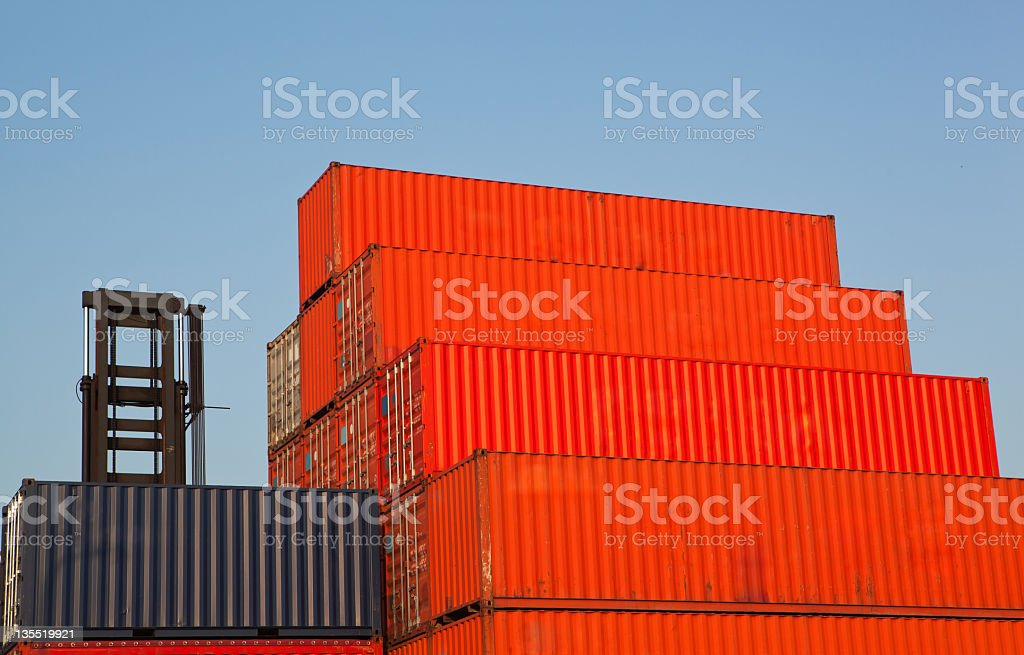 Stack of cargo containers at the docks royalty-free stock photo