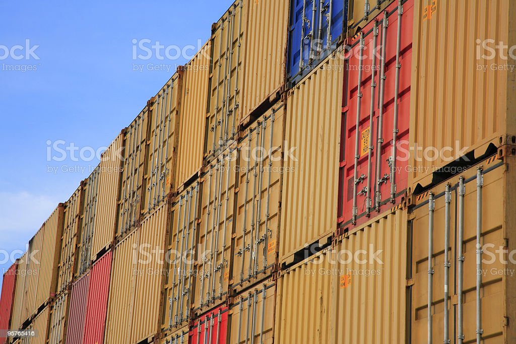 Stack of Cargo Containers royalty-free stock photo