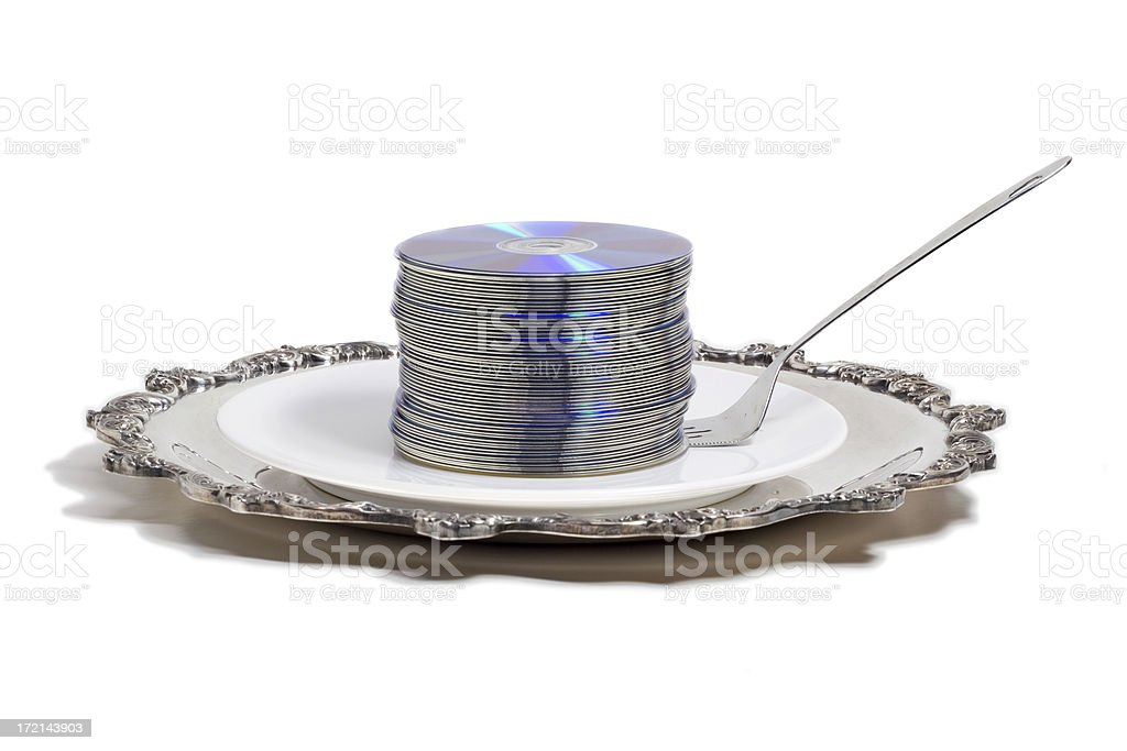 Stack of CDs on a serving plate royalty-free stock photo