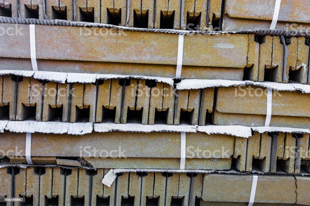 Stack of ceramic construction blocks stock photo
