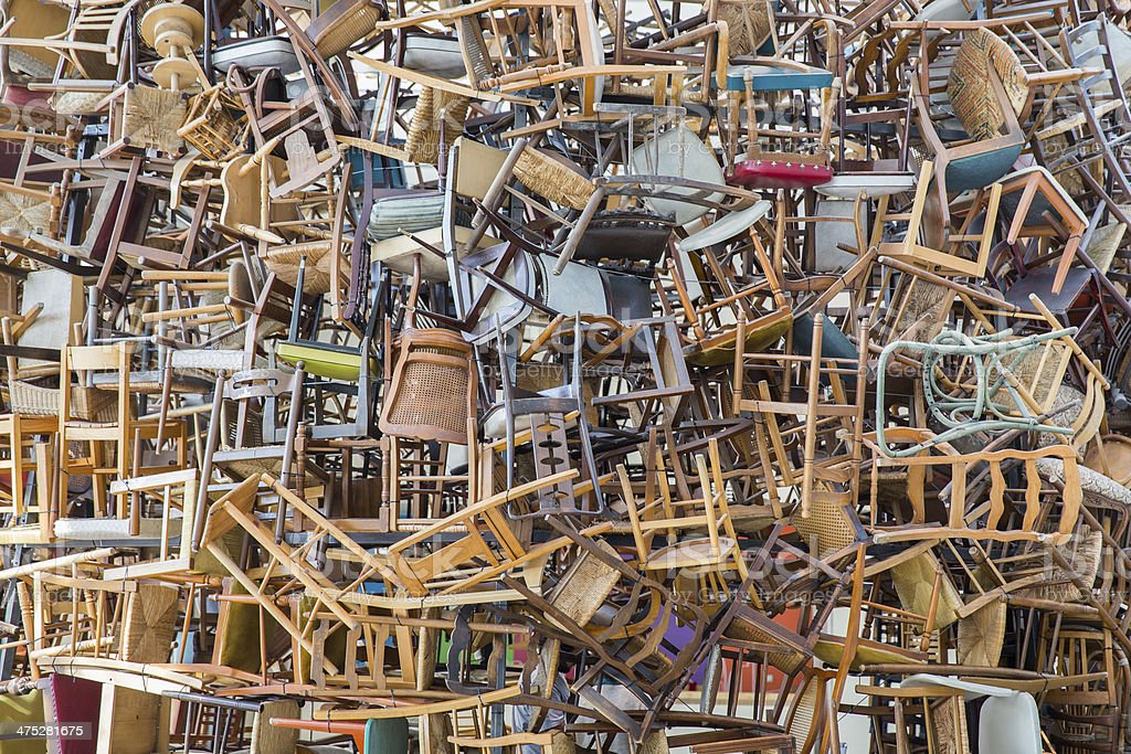 stack of chairs stock photo