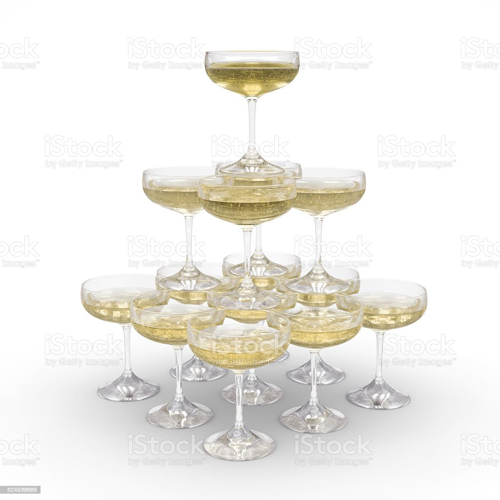 Stack of champagne glasses with clipping path stock photo