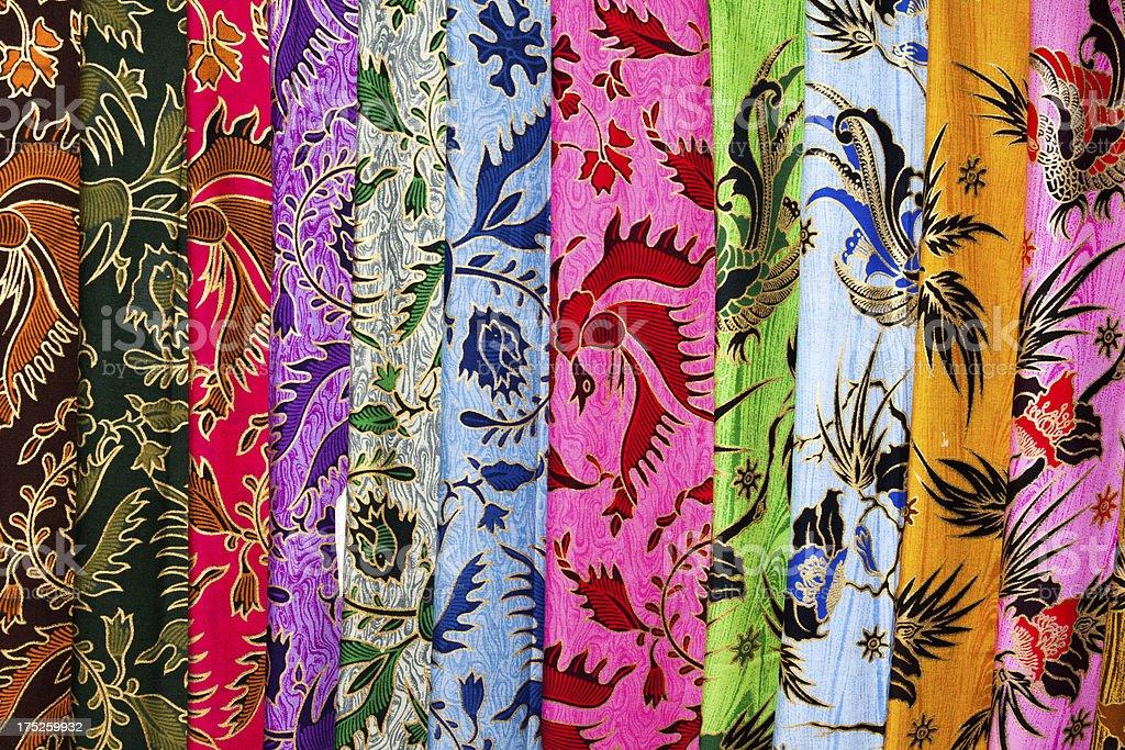 Stack of Cheap Printed Batik at Indonesian Textile-Market stock photo