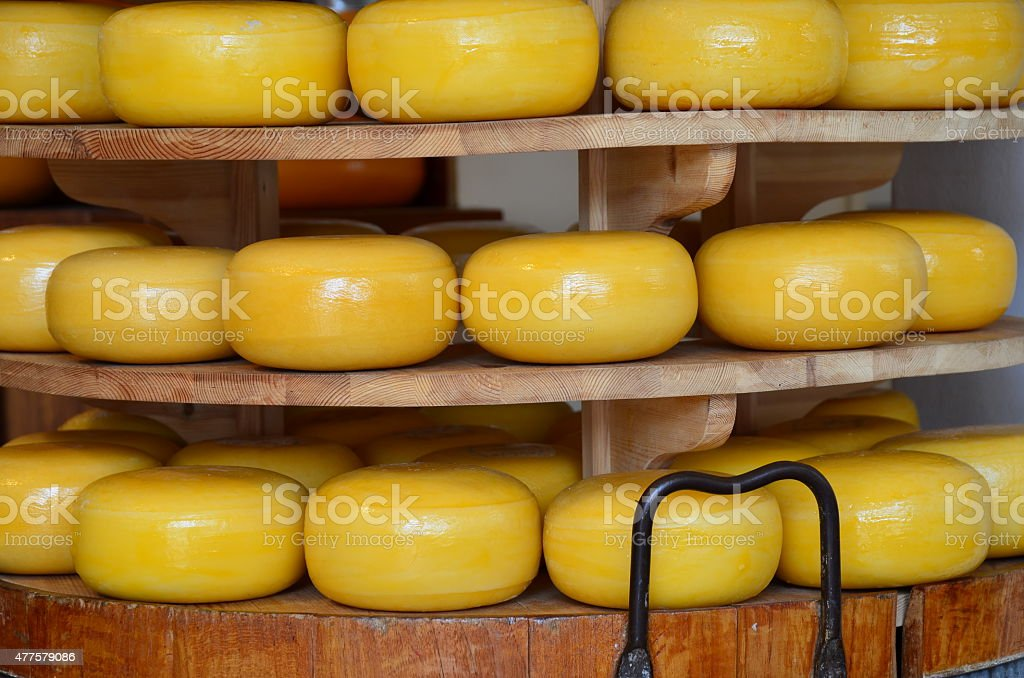 Stack of cheese in a shop from Delft, Netherlands stock photo