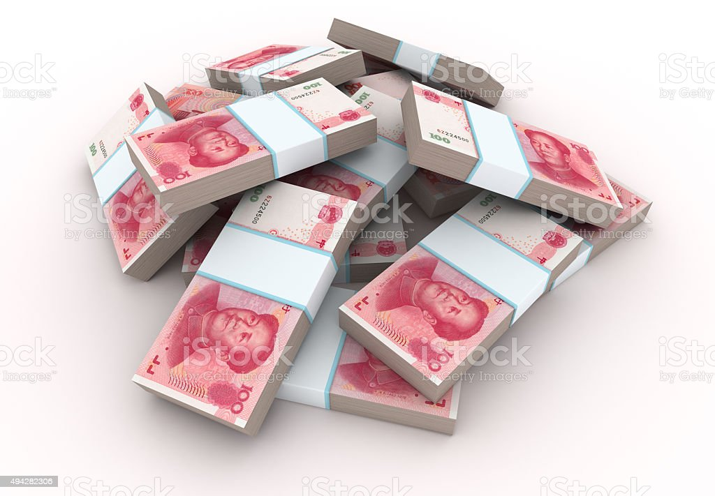 Stack of Chinese Yuans stock photo