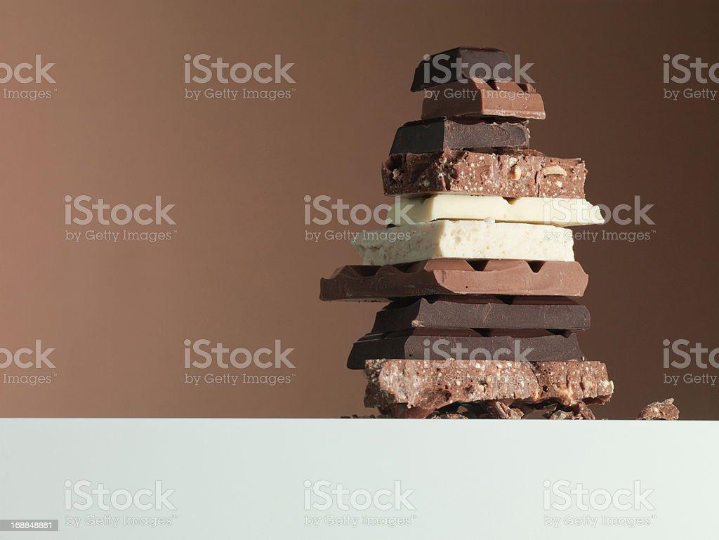 Stack of chocolate bars stock photo