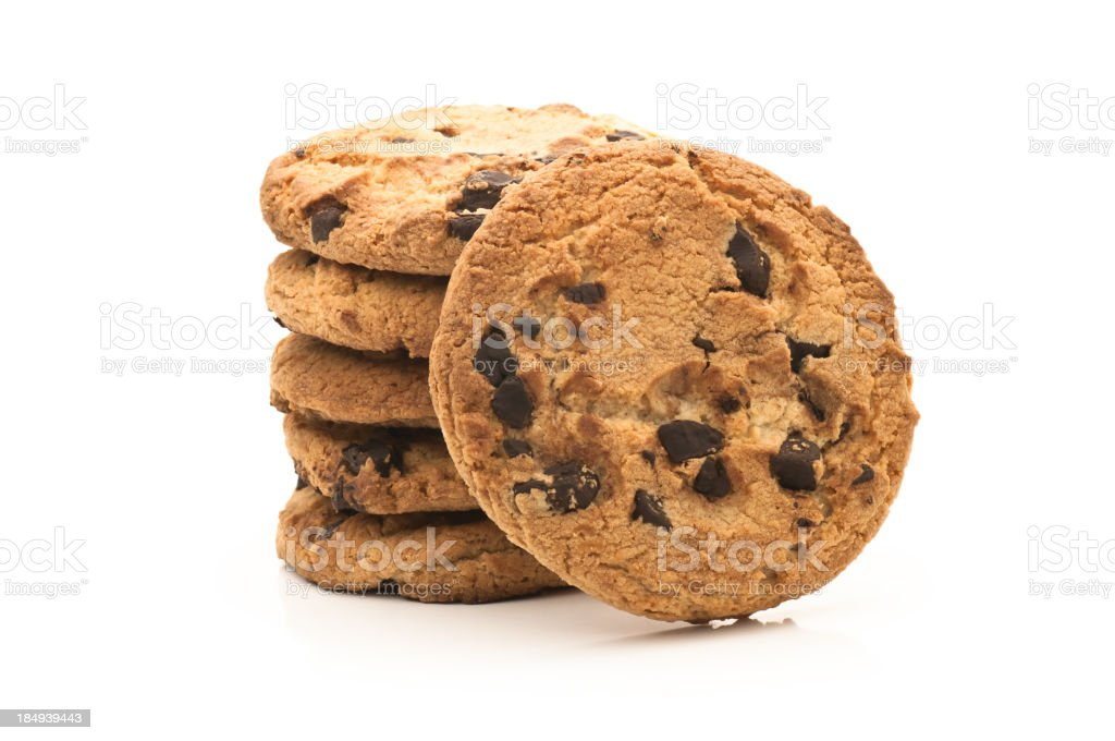 Stack of chocolate chip cookies isolated on white background royalty-free stock photo