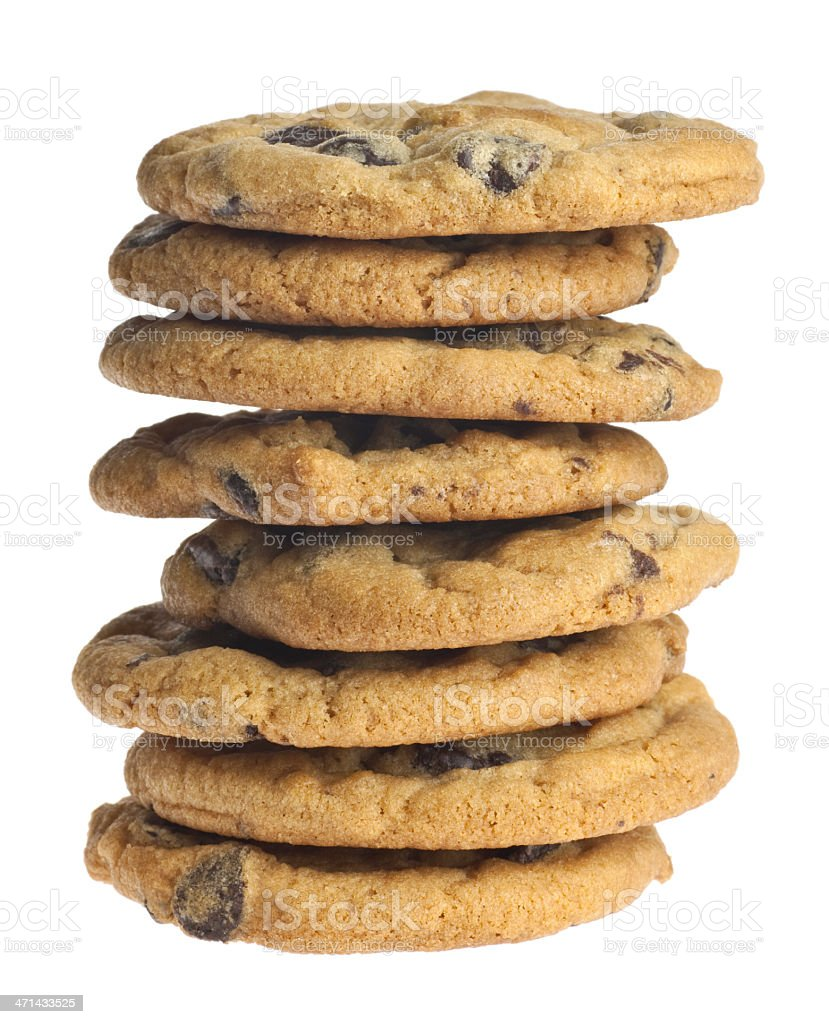 A stack of chocolate chip cookies stock photo