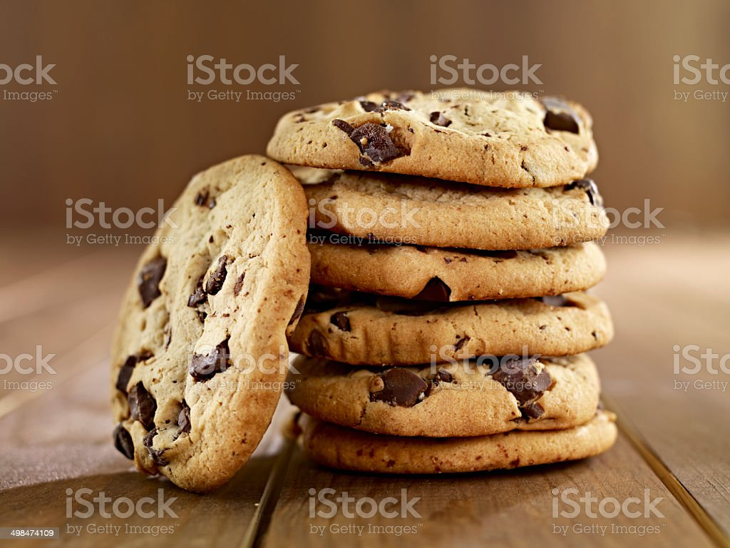 Stack of Chocolate Chip Cookies stock photo
