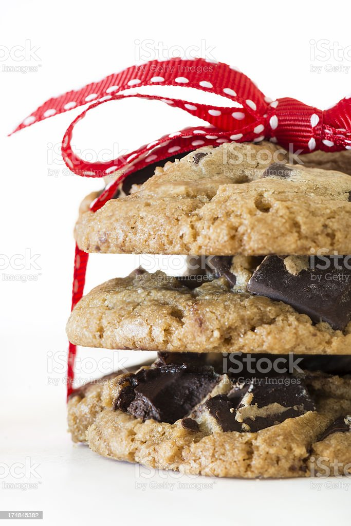 Stack of Chocolate Chip Cookies Tied with Red Ribbon Close-up royalty-free stock photo