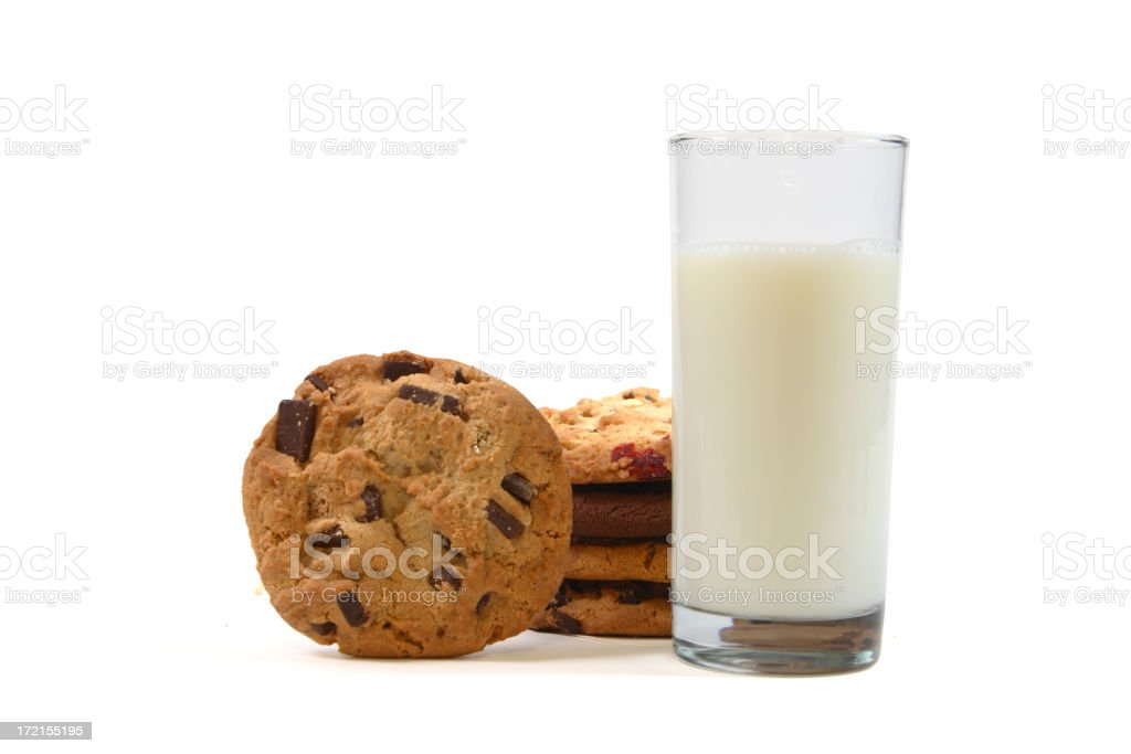 Stack of Chocolate Chip Cookies with Milk Isolated on White stock photo