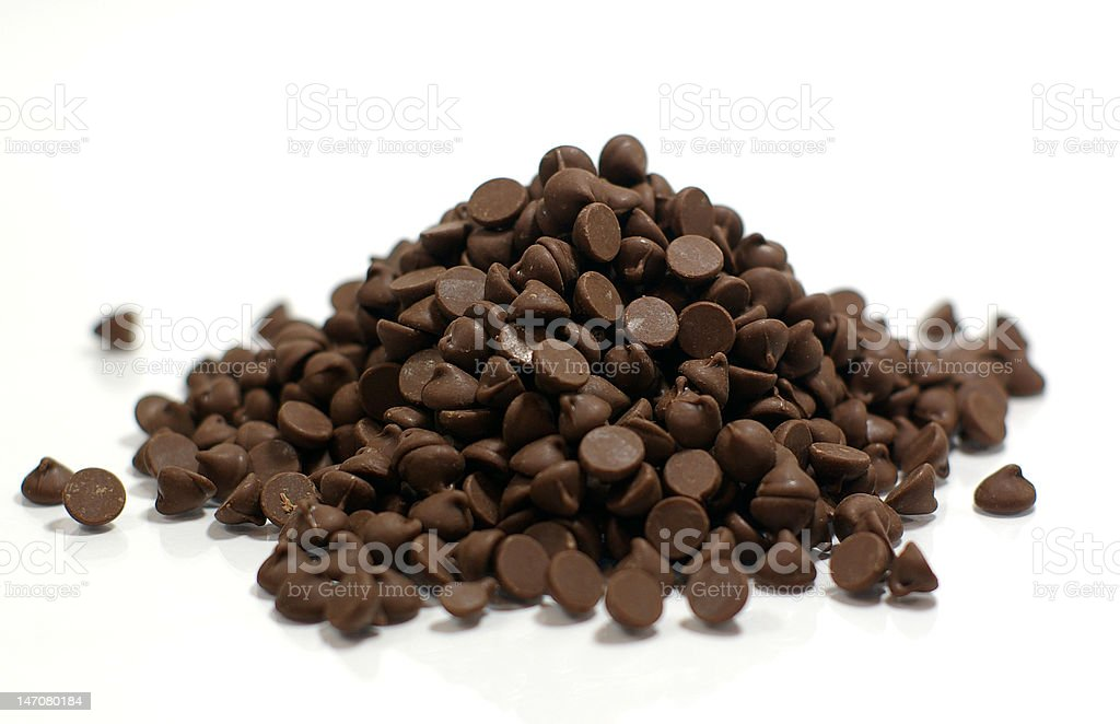 Stack of Chocolate Chips stock photo