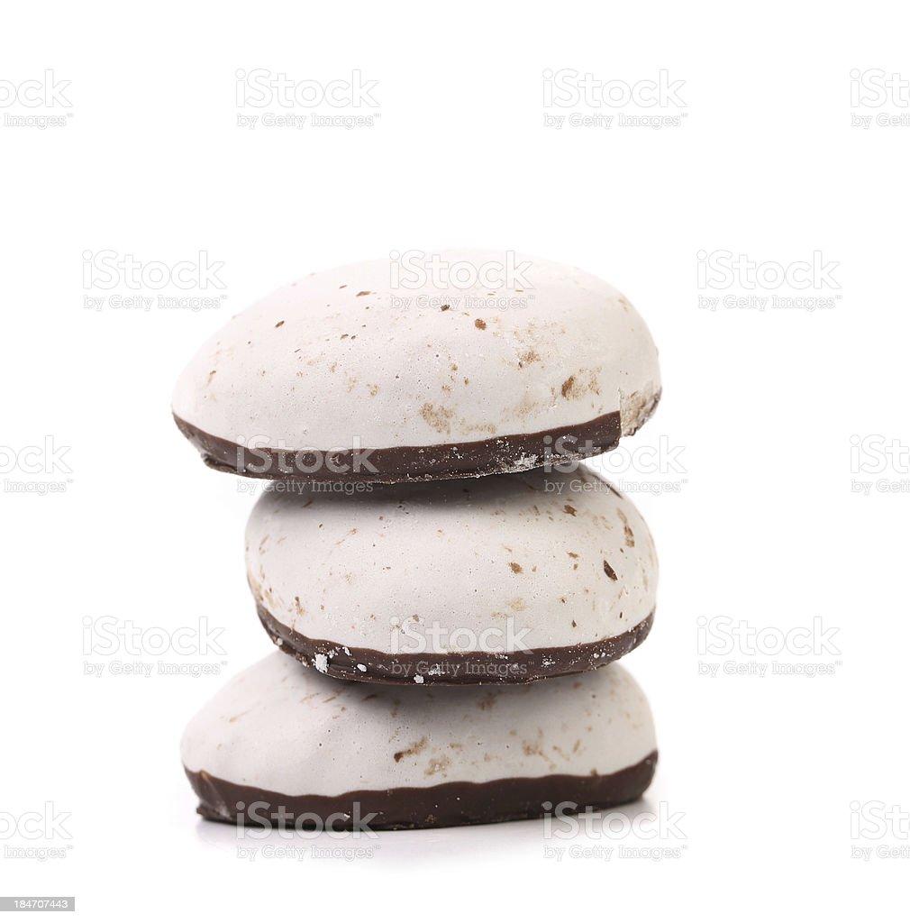 Stack of chocolate meringues. stock photo
