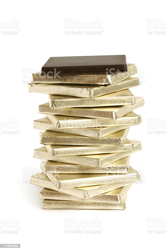 Stack of chocolate pieces royalty-free stock photo