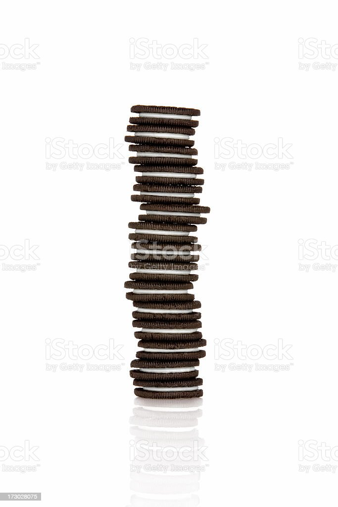 Stack of Chocolate Sandwich Cookies stock photo