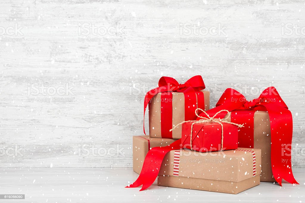 Stack of Christmas Gift Boxes stock photo