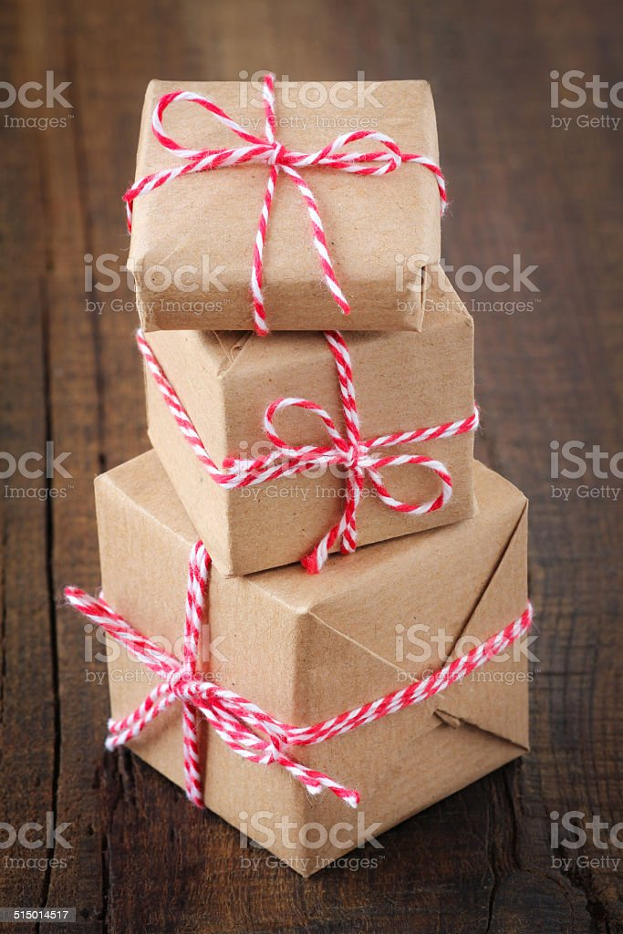 Stack of Christmas presents stock photo