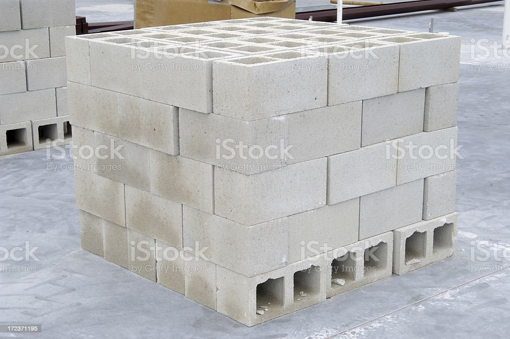Stack of Cinder Blocks stock photo