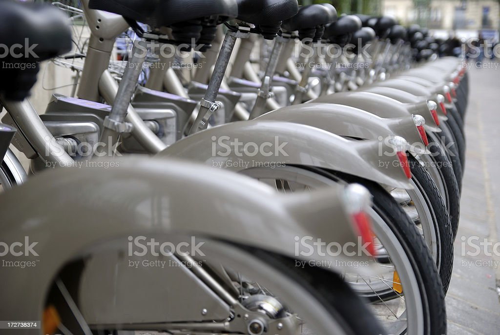 Stack of citibikes royalty-free stock photo