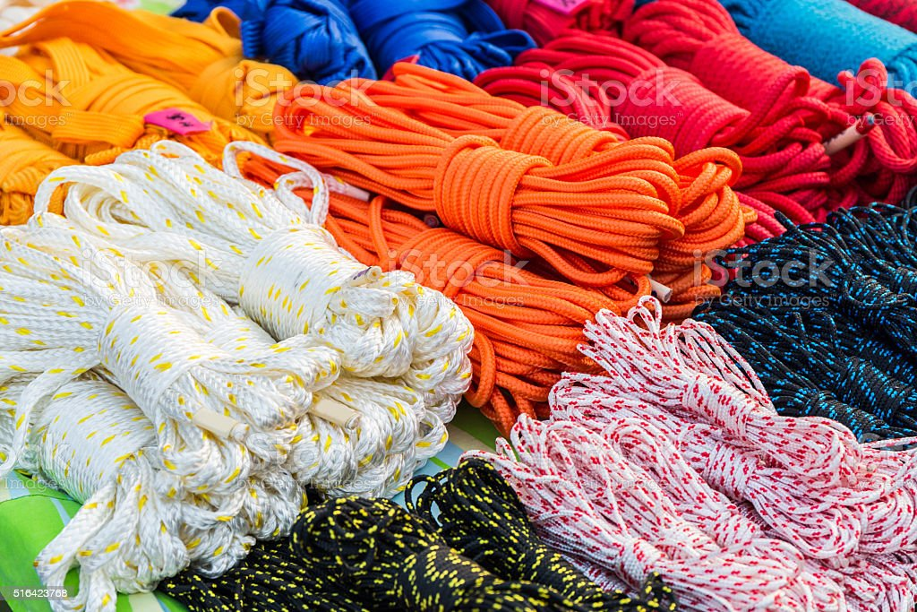 Stack of Coiled Nylon Rope. stock photo