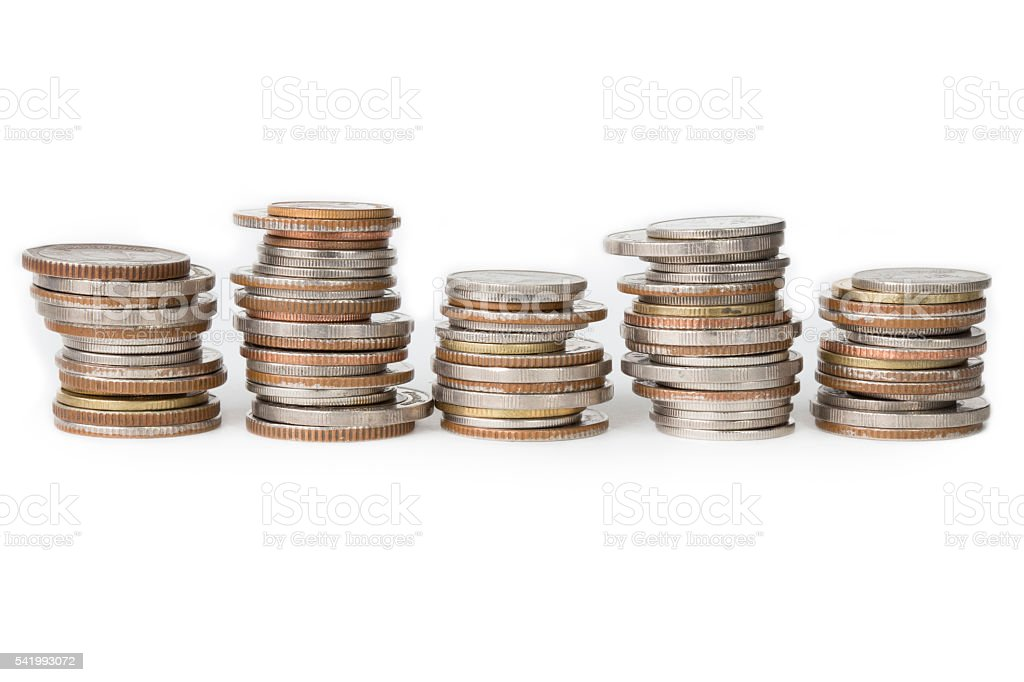 Stack of coin isolated on white background concept not organized stock photo