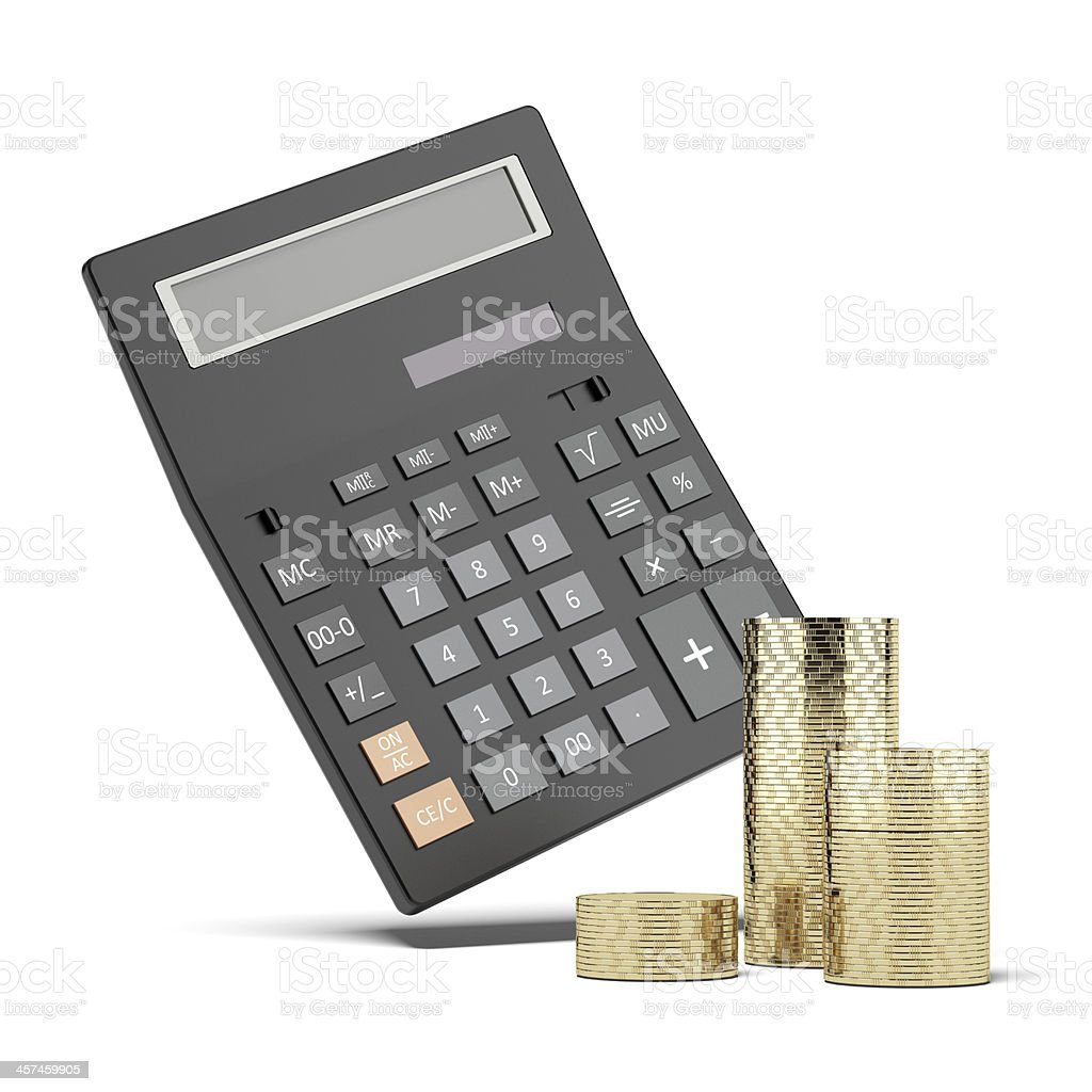 Stack of coins and calculator stock photo