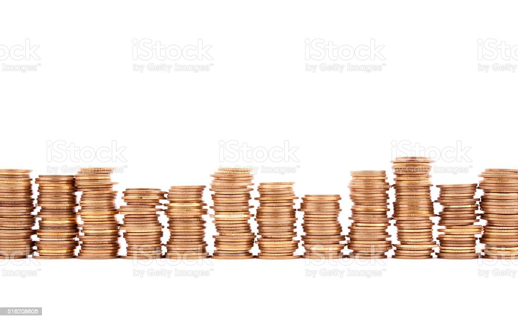 Stack of coins on white background stock photo