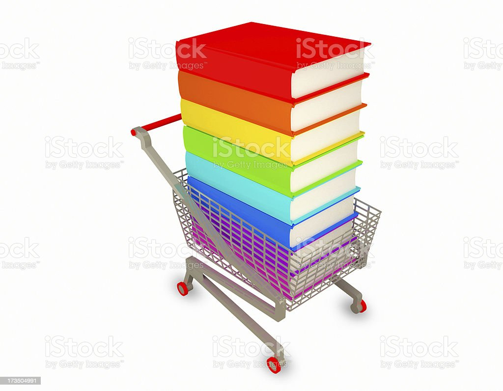 Stack of color books and a shopping cart royalty-free stock photo