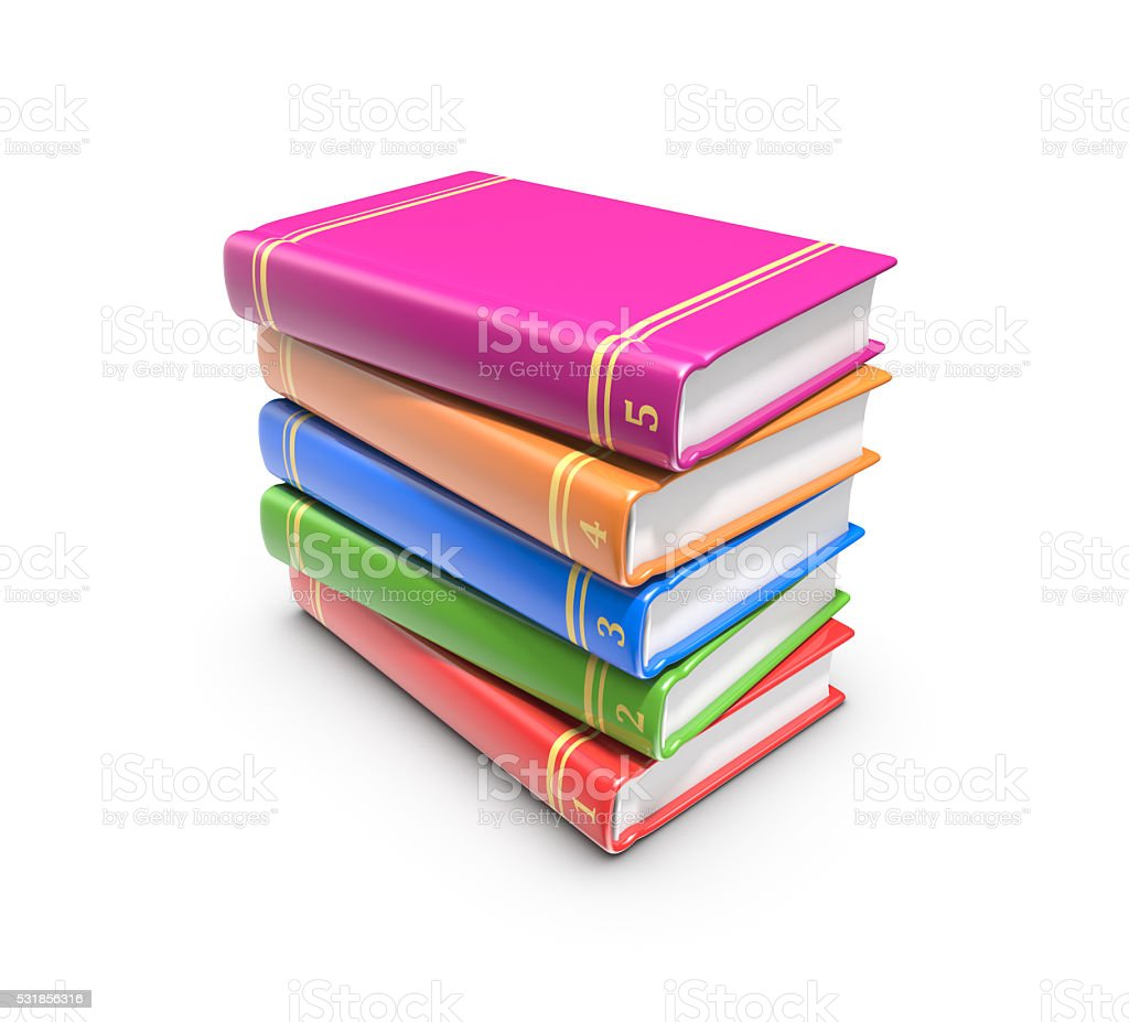 Stack of color books on white background, 3d render. royalty-free stock photo
