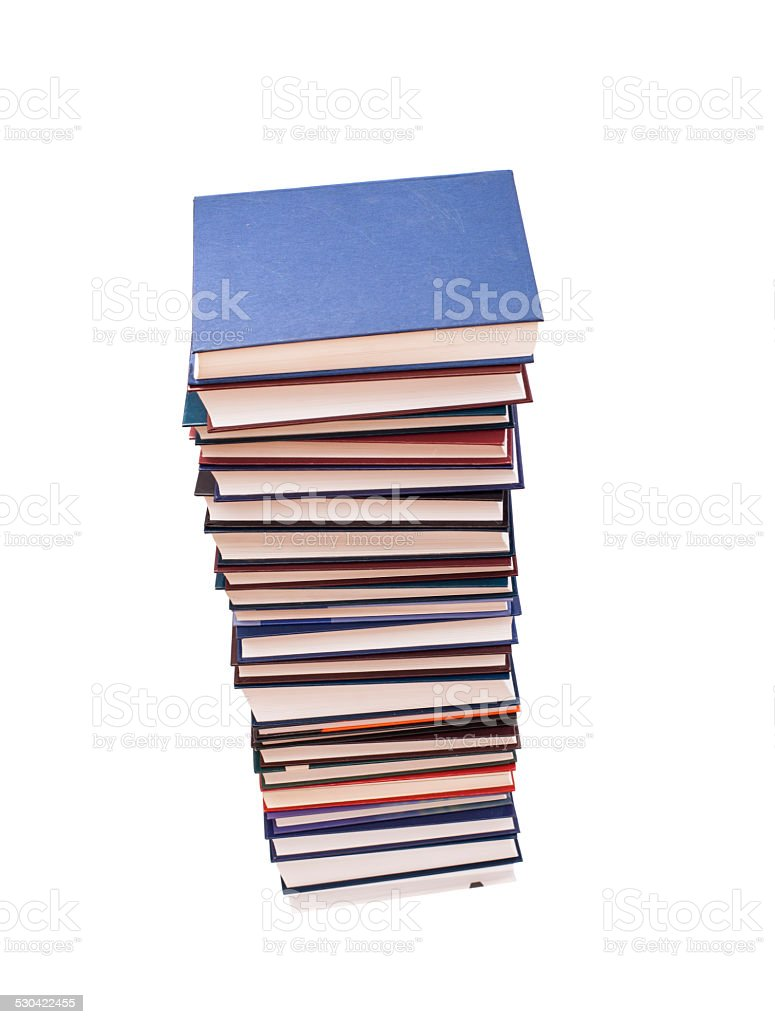 stack of color books on white background stock photo