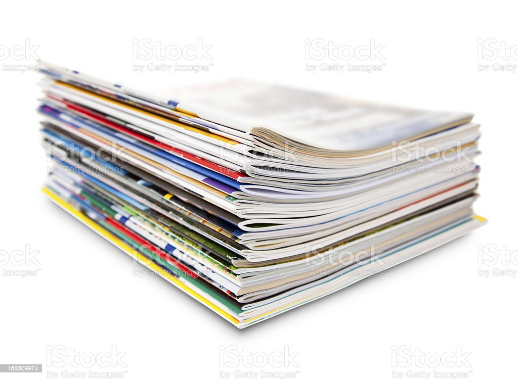 stack of color magazine stock photo