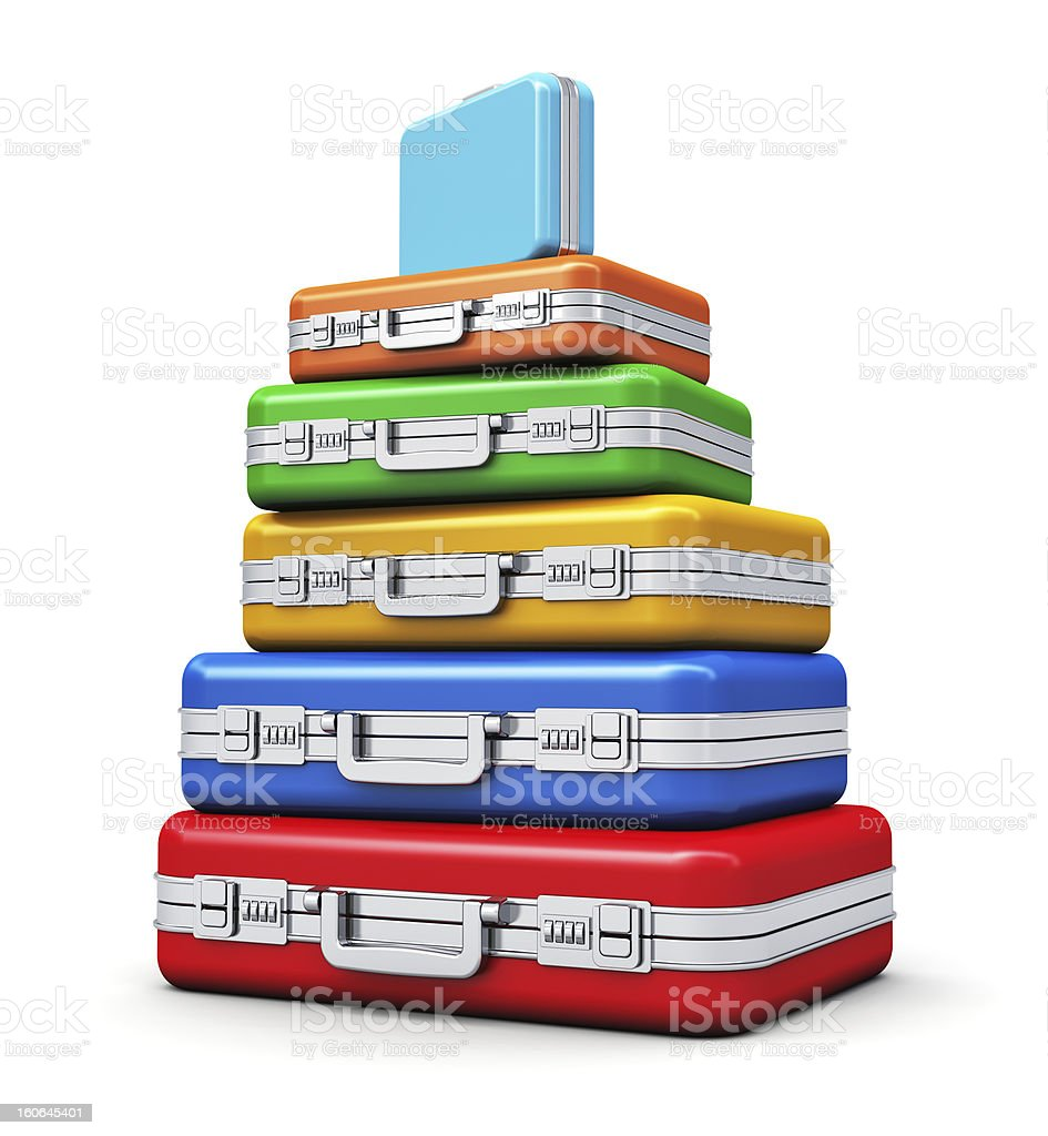 Stack of color travel cases royalty-free stock photo