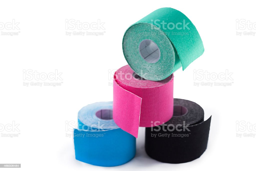 Stack of colored tapes on white background stock photo