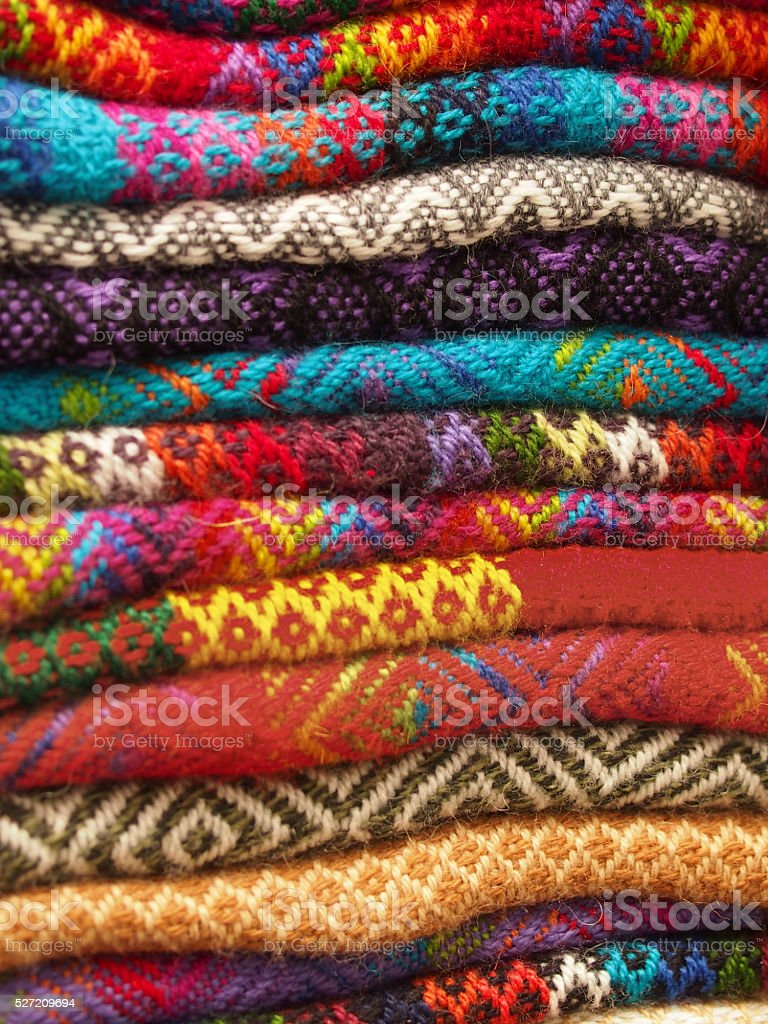 Stack of colorful blankets stock photo