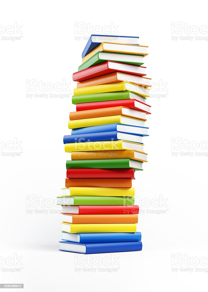 Stack of Colorful Books Isolated on White stock photo