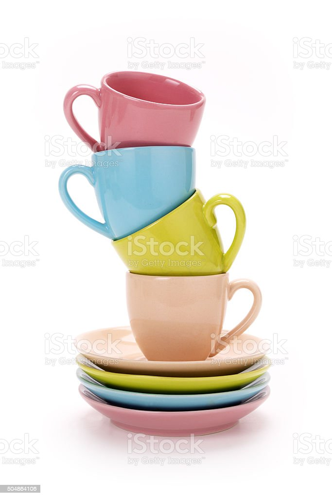 Stack of colorful coffee cups isolated on white stock photo