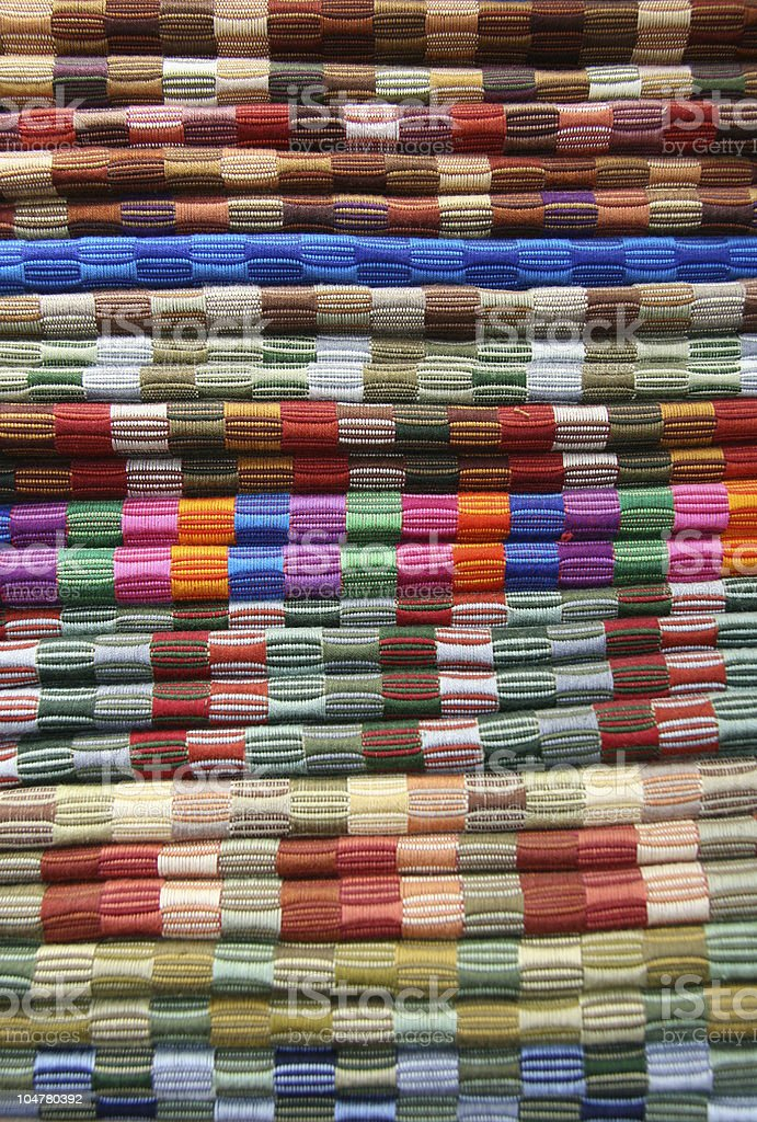 Stack of colorful fabric for sale in Guatemala royalty-free stock photo