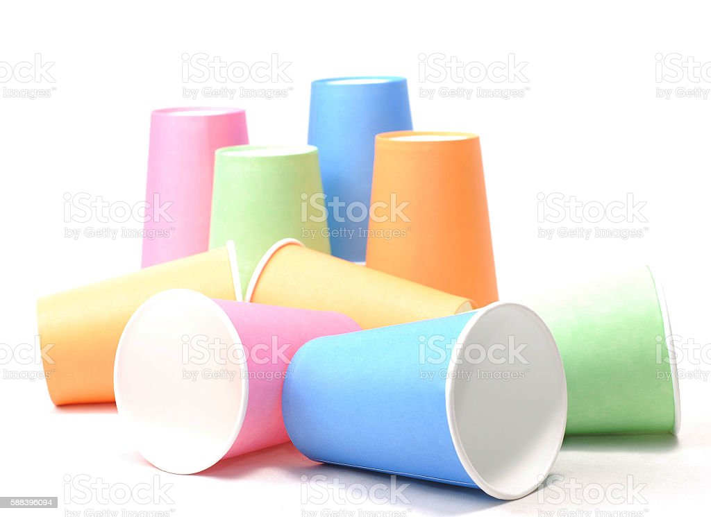 stack of colorful recycling paper glass on white background stock photo