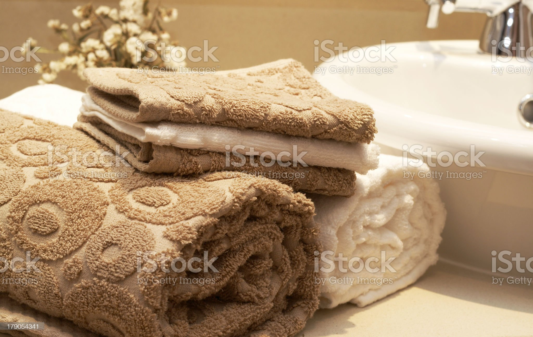 Stack of colorful towels in the bathroom royalty-free stock photo