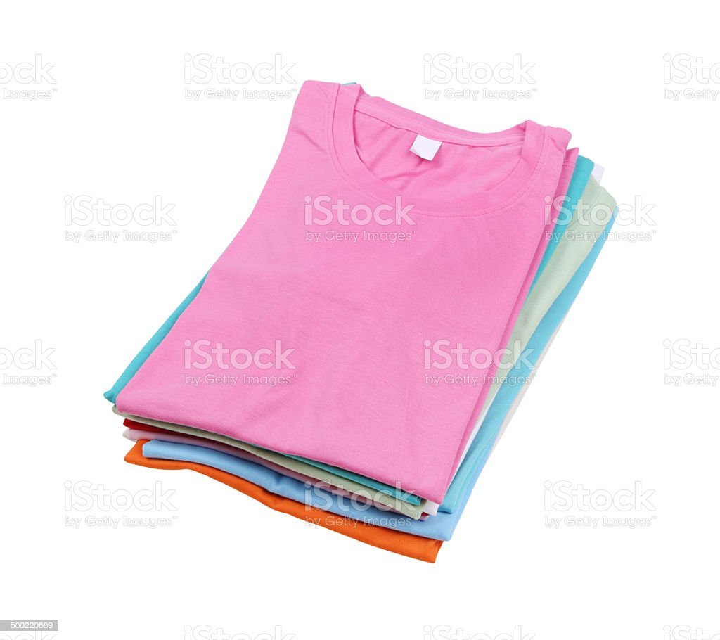 stack of colorful  t-shirt stock photo