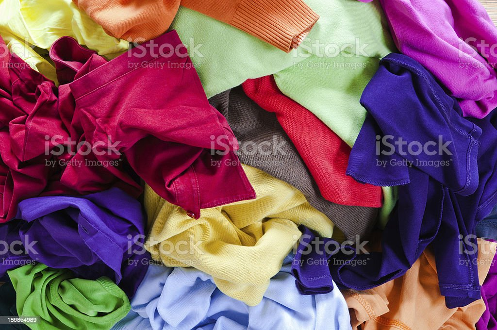 Stack of colourful clothes royalty-free stock photo