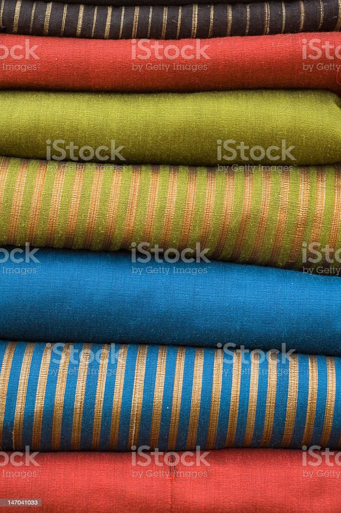 Stack of colourful silk royalty-free stock photo